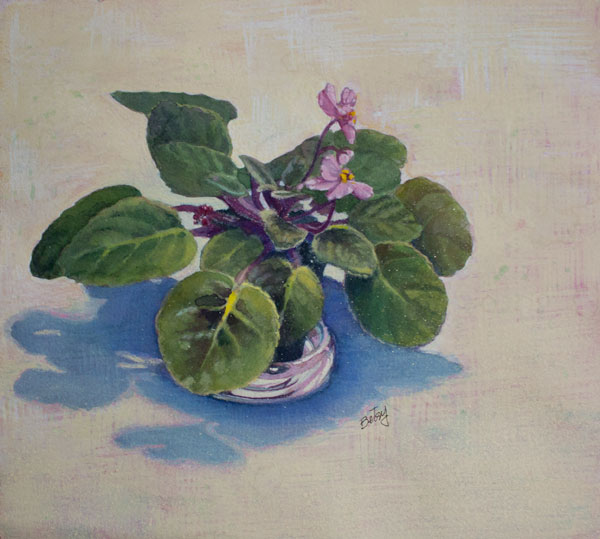African Violet, watercolor and gouache on paper