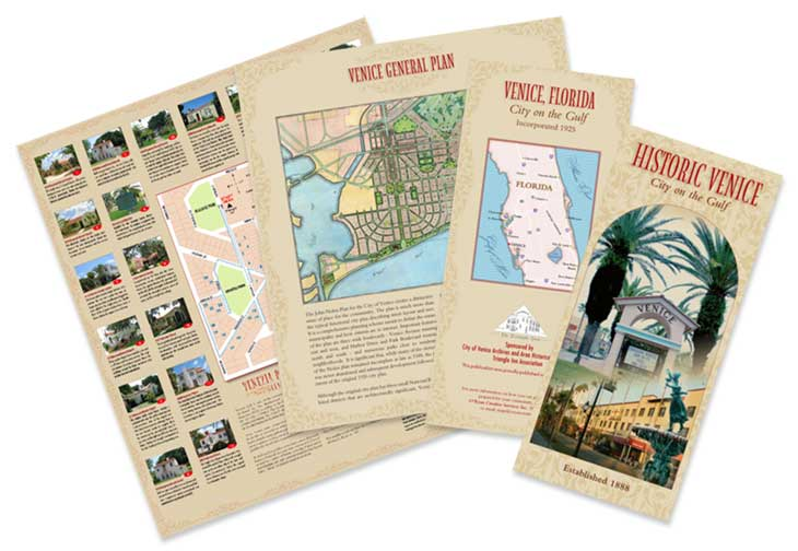 historic venice walking tour map print sample