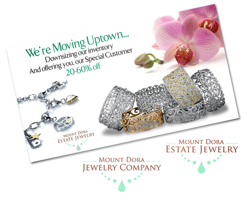 Mount Dora Jewelry Announcement Card, Logos and Ad