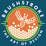 brushstroke logo depicting a behive and bee