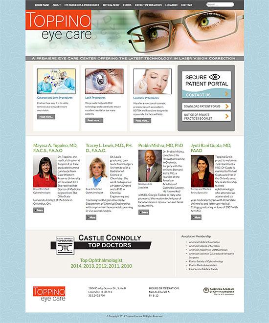 Toppino Eyecare website Clermont, Florida